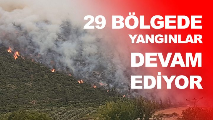29 Bölgede Devam Eden Yangınların Listesi